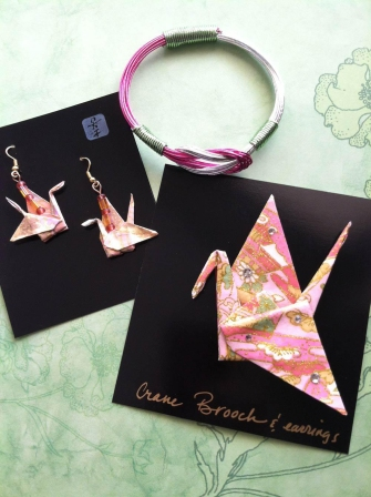Origami earrings, pin and bracelet