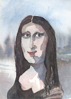 Mona, watercolor on paper