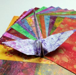 Painted origami paper